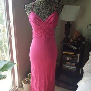 Hot pink silk formal dress/gown